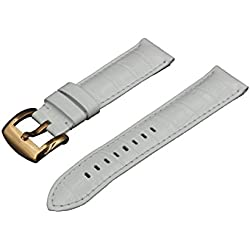 Crocodile Grain Padded Italian Calfskin Leather Watch Band With Brushed Rose Gold Buckle