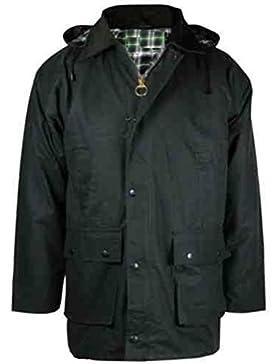 Chaqueta para hombre de algodón encerado acolchado con capucha para pesca capturartey agricultura de equitación...