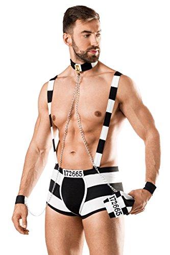 Herren Männer sexy schwarzes Sträfling-Kostüm mit Shorts Mütze Hosenträgern Manschetten und Kragen Roleplay Verkleidung
