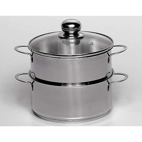 Krüger 497374 - Olla vaporera de acero, 16 centímetros, color plateado