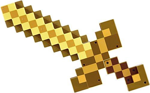 Minecraft - Espada/pico transformable, color dorado (Mattel DNM30)