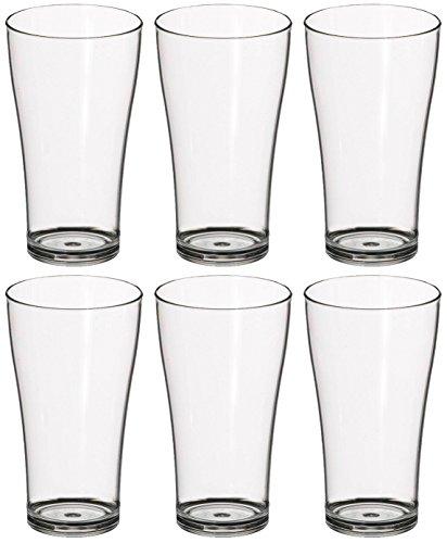 Set 6x Trinkgläser Biergläser 250ml Polycarbonat Kunststoff bruchsicher Polycarbonat Drinkware
