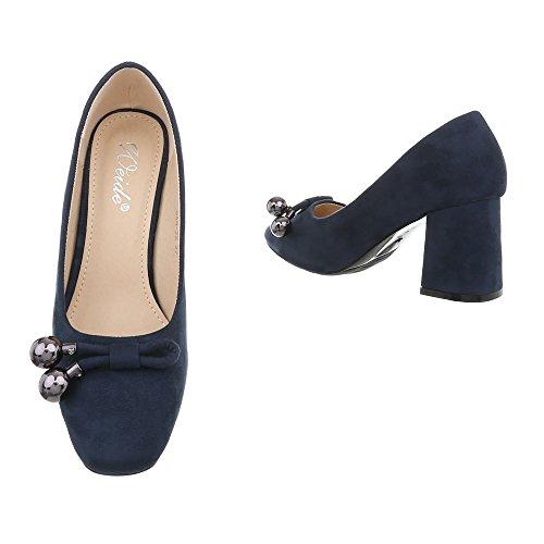 Ital-Design High Heel Pumps Damenschuhe High Heel Pumps Pump High Heels Pumps Dunkelblau GAQ-22