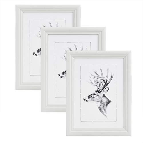 WOLTU 3er Set 20x30cm Bilderrahmen Artos Stil Holz Rahmen Fotogalerie Glasscheibe, Weiß