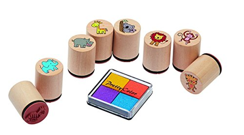Preisvergleich Produktbild Tierstempel, 8 Stück, im Schraubglas, Holzstempel, mit Stempelkissen, wilde Tiere, Dschungel, Stempeln, Party, basteln, Kinderstempel