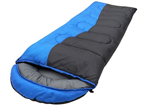 Honeystore Camping & Outdoor 190T Pongé Schlafsack-Deckenschlafsack (190+30)*75 CM Blau und Schwarz