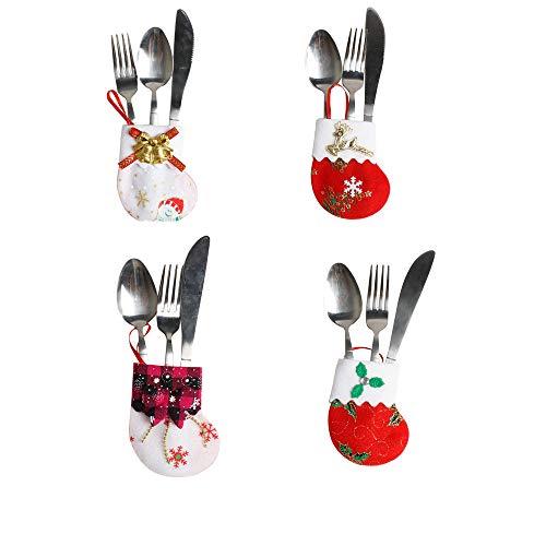 Cosas de Navidad Ddecoracion - Fossen 4PC Cuchillos Tenedores Vajillas Bolsas Navidad Decoración Mesa de Comedor Casa Comedor Restaurante de Papá Noel Ciervo Muñeco de Nieve Navidad (01)