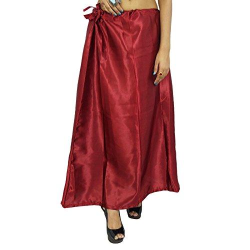 Indian Silk Satin Petticoat Bollywood Solide Inskirt Futter für Sari Frauen Kleidung Rote