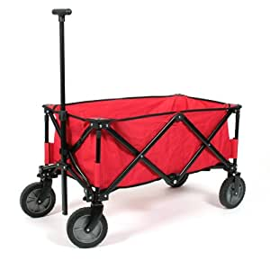 Kid 'n Joy 10212 - Faltbarer Bollerwagen Deluxe Rot - Tragkraft: 100kg