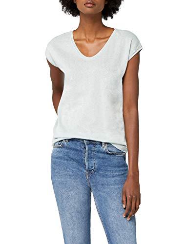 ONLY Damen T-Shirt onlSILVERY S/S V Neck Lurex TOP JRS NOOS, Blau (Morning Mist), 40 (Herstellergröße: L) -