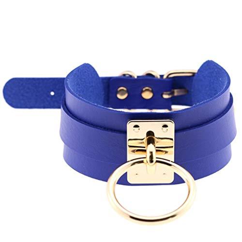 Babysbreath17 Frauen-Mädchen-O-Ring-Anhänger HalsketteChoker Weiblicher Schmuck PU-Leder-Kreis-Halskette Kragen Goldring & Saphir