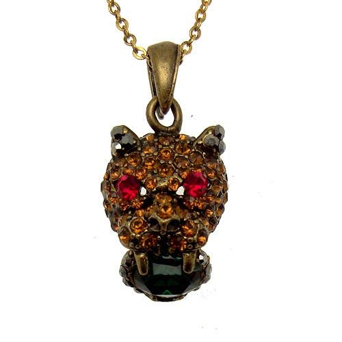 Acosta-& rosso topazio verde, misura piccola, motivo leopardato, con cristalli di swarovski, a forma di gatto, stile vintage, gioielli
