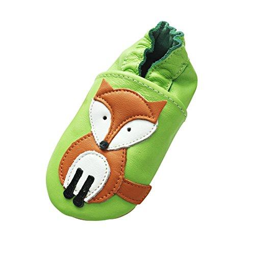 Engel+Piraten Krabbelschuhe Markenqualität Aus Deutschland- Viele Modelle bis 4 Jahre Babyschuhe Leder Lauflernschuhe Lederpuschen (2-3 Jahre(Gr.24/25), Fuchs Grün)