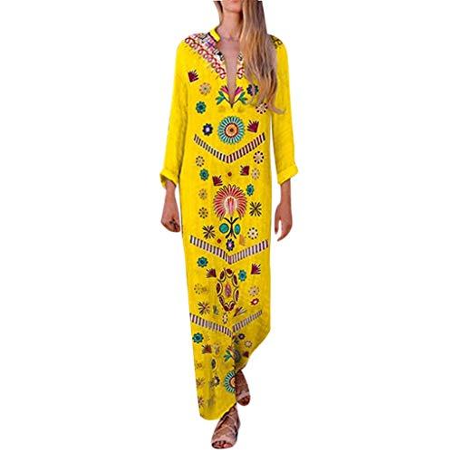 Gelber Kimono (Sannysis Damen Maxikleid Langes Elegantes Kleid Strandkleider Türkischer Stil Boho Strandponcho Lose Maxi Kimono Kaftan Tunika Lange Sommerkleider (M, Gelb -4))