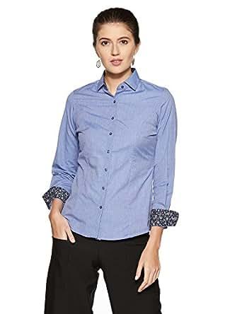 Park Avenue Woman Regular Fit Shirt (PWSX01460-B7_Dark Blue_96)