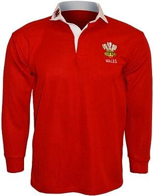 Active Wear-Polo para hombre/Camiseta de rugby, manga larga, logotipo de Gales, talla: S, M, L, XL, XXL, 3x l, 4x l, 5x l