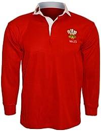Active Wear–Polo para hombre/Camiseta de rugby, manga larga, logotipo de Gales, talla: S, M, L, XL, XXL, 3x l, 4x l, 5x l