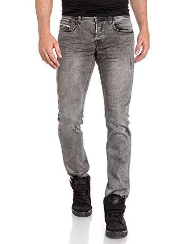 BLZ jeans - Jean homme gris délavé et usé en coupe slim Gris