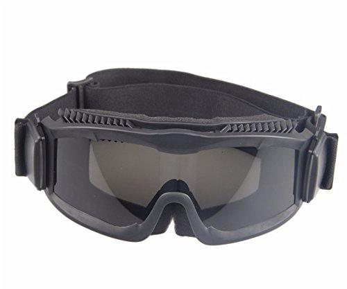 Militaire Alpha Ballistic Goggles Tactique Armée Lunettes de Soleil Airsoft CS Paintball Lunettes 3 Lens Kit (Noir)