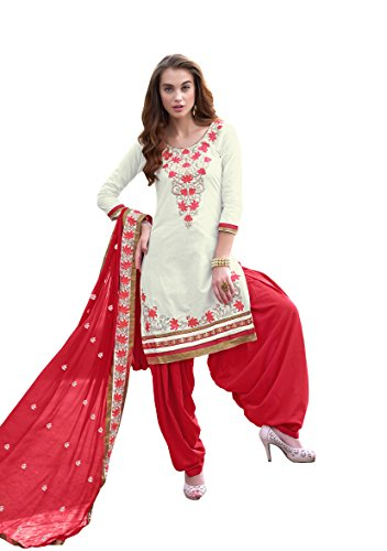 Shoponbit off white and red Coloured Cotton Embroidered party wear patiala suit