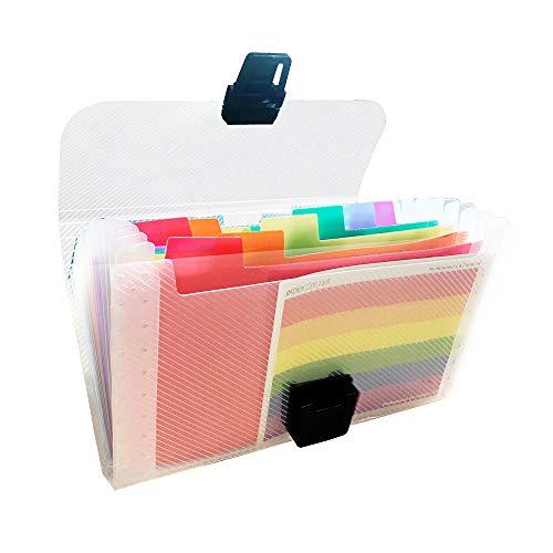 YGSAT 1 Stück Fächermappe Organizer A6 Größe 13 Taschen Tragbar Rainbow Dokumentenmappe Dokumenten Organizer Akkordeon Dokumententasche Brieftasche für Zu Hause Enthält Farbige Etiketten (Brieftasche Akkordeon Brieftaschen)