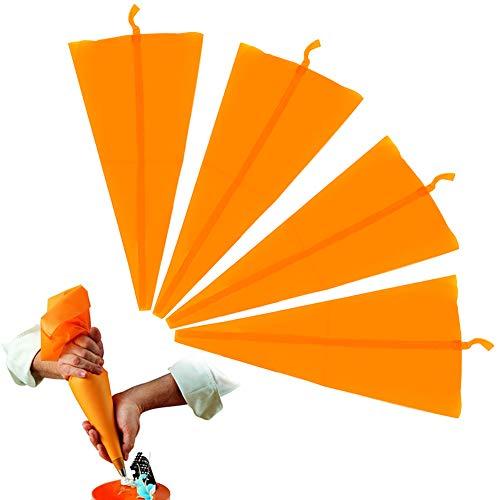 Spritztüllen Silikon Spritzbeutel Wiederverwendbare Icing-Piping-Kuchen-Sahne-Gebäck-Beutel-Halter DIY Werkzeug verziert orange Farbe ( 4pcs Gebäckbeutel)