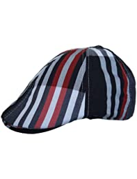 Mens Flat Cap Hat Country Striped Print in Navy White Red