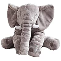 Elephant Pillow Stuffed Animal Toy Plush Toy for Baby Children Kids Gift Grey (60x45x25cm)