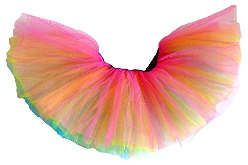 Kostüm Paar Für Süßes Tanz - Dancina Damen Organza Regenbogen Tüllrock Tutu Rainbow One Size