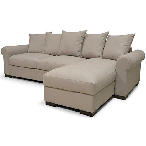 SANTORY ROMANTICA Canapé d'angle droit convertible en tissu 5 places - 276x96-170x81 cm - Gris mastic