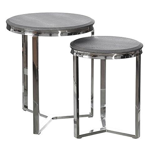 Duo de tables d'appoint Similicuir et métal - GALUCHAT - L 48 x l 48 x H 57 - NEUF