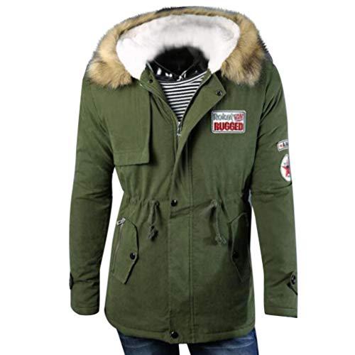 SEWORLD Herren Herbst Winter Sport Charm Herren Casual Slim Fit Outwear Pullover Zipper Lange Baumwolljacke Männer Mit Kapuze Mantel Bluse(Armeegrün,EU-52/CN-XXL)