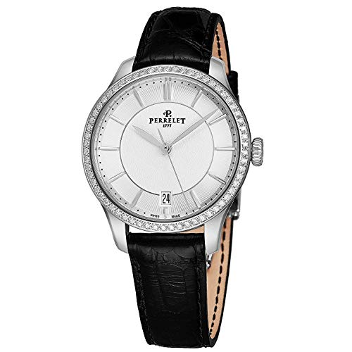 Perrelet Women's 35mm Black Alligator Leather Band Automatic Watch A2070-1