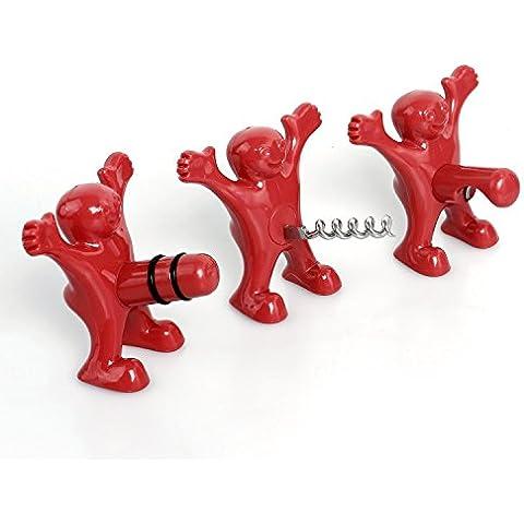 Sacacorchos,tapón de botella y abrelatas, Tres muñecos rojos lindo de la novedad del sacacorchos, Perfecto regalos de la mordaza colección para hombres y mujeres