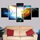 WZYWLH HD Gedruckt Hochzeitsdekoration Malerei Bild Moderne 5 Panel Meteore Kollision Mit Erde Rahmen Für Wohnzimmer Dekor Leinwand