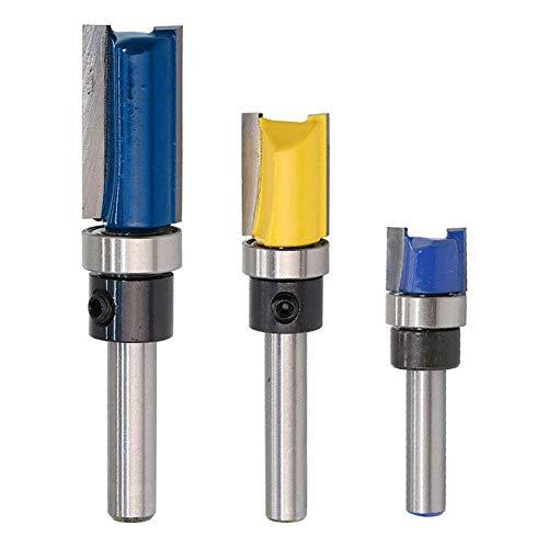 WSOOX Satz von 3 Stück 1/4 Zoll Schaft Flush Trim Muster Vorlage Router Bit Set Holz Top Bearing Fräser Werkzeug (Bit Trim Router Vorlage)