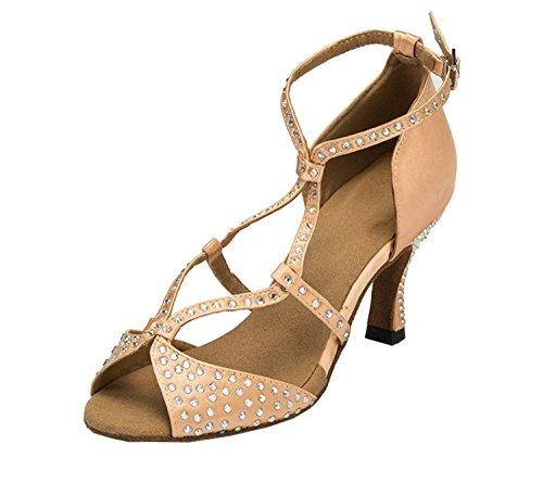 Minitoo chaudes pour femme en Satin pour mariage fête Sandales Cha Cha Latin Chaussures de danse Beige (beige)