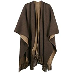 Poncho reversible para mujer Samanthajane Negro Brown/Beige Taille unique