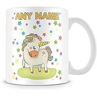 Unicorn Mug - Personalised Gift - Add Name and Text - Rainbow Unicorn with Stars Cup