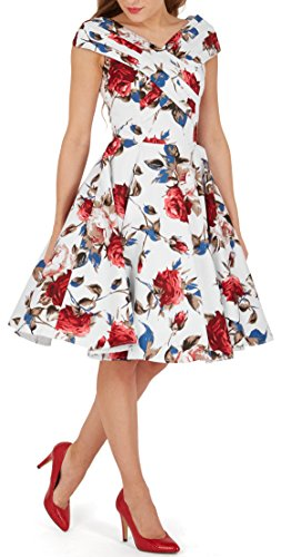 BlackButterfly 'Enya' Vintage Mercy Pin-up-Kleid Weiß Rot