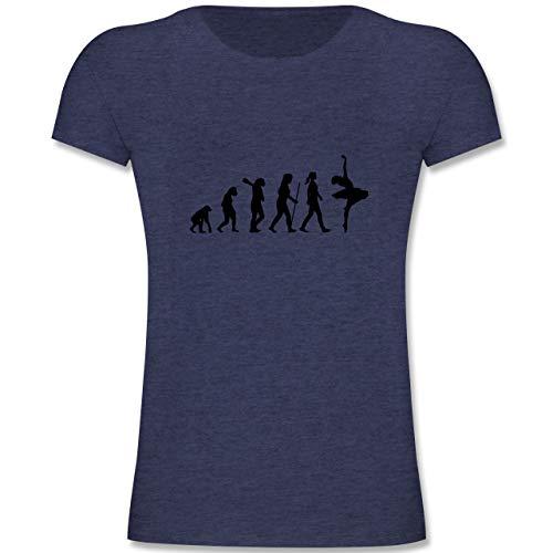 Evolution Kind - Evolution Ballett - 116 (5-6 Jahre) - Dunkelblau Meliert - F131K - Mädchen Kinder T-Shirt