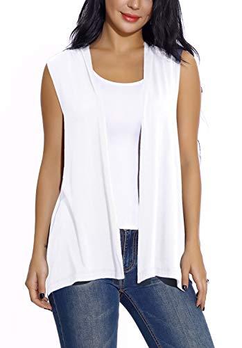 EXCHIC Damen Lässig Armellose Leichte Offene Tunika Weste Strickjacke (XL, Weiß)