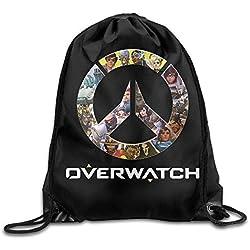 Dhrenvn Overwatch OW Logo Drawstring Backpack Sack Bag/Travel Bag