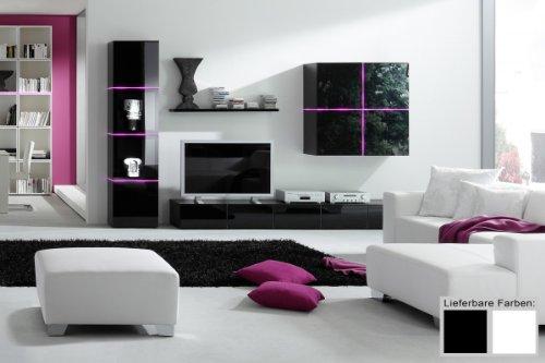 Dreams4Home Wohnwand Square Anbauwand Schrankwand weiß o schwarz hochglanz opt LED-RGB-Beleuchtung, Beleuchtung:ohne Beleuchtung;Farbe:Schwarz