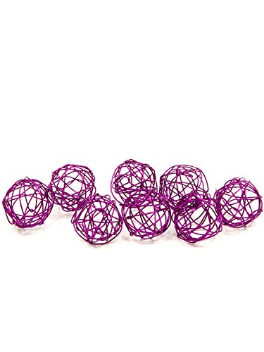 12 Boules de décoration métal prune 2 cm