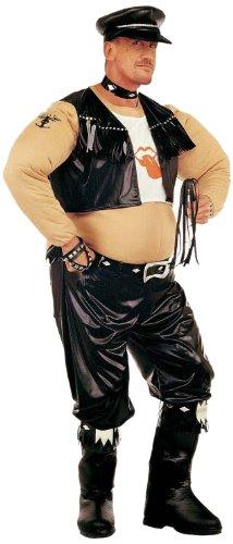chsenenkostüm Biker, gepolstertes Kostüm mit Stiefelüberziehern, Gürtel, T-Shirt, Weste, Halsband und Hut, Einheitsgröße (Biker-halloween-kostüm)