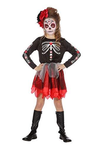 Wilbers Tag der Toten Kostüm Kinder Mädchen Dia Muertos Halloween Day of Dead 128-164 Schwarz/Rot/Weiß 164 (13-14 Jahre)