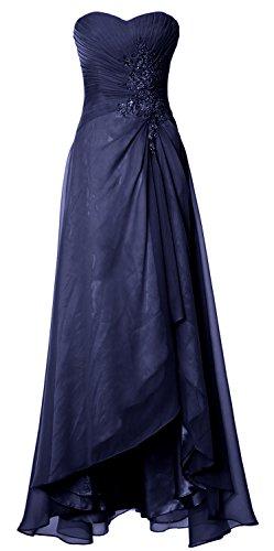 MACloth Elegant Hi Lo Simple Prom Dress Strapless Wedding Party Formal Gown Dark Navy