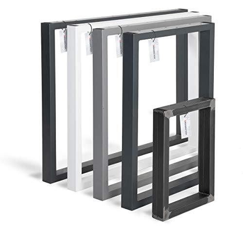 HOLZBRINK Tischkufen aus Vierkantprofilen 60x30 mm, Tischgestell 40x43 cm, Rohstahl mit Klarlack, 1 Stück, HLT-01-D-BB-0000