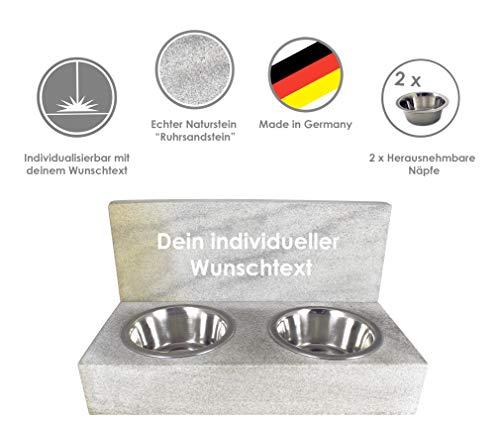 Futterstation mit individueller Lasergravur für Hunde, Katzen und andere Haustiere Aus Naturstein made in Germany, handgefertigt, in einer sehr massiven Ausführung mit Futterschüsseln aus Edelstahl.